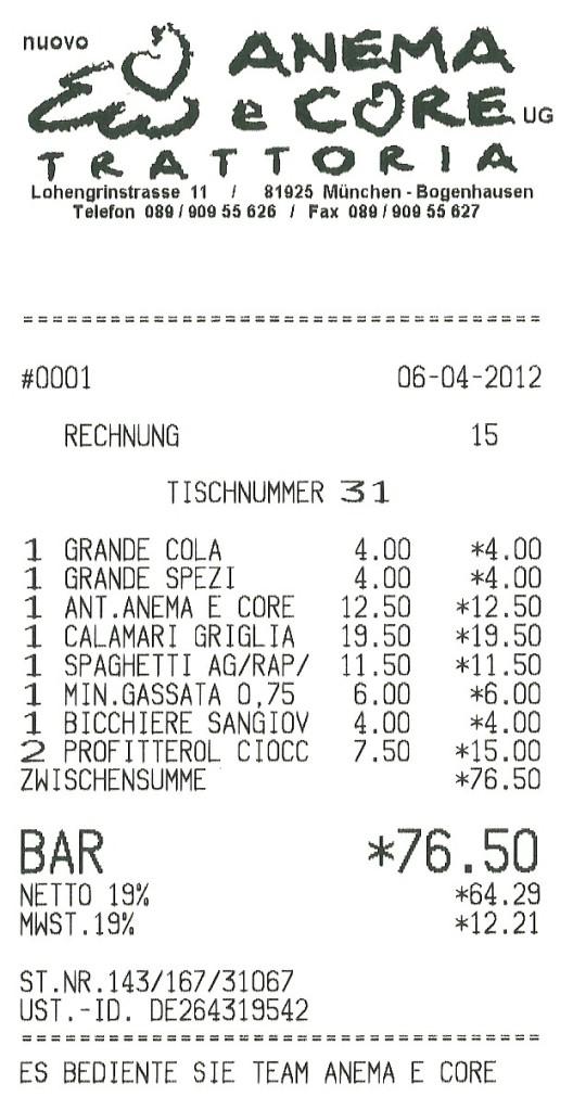 Rechnung Anema e Core - 06.04.2012