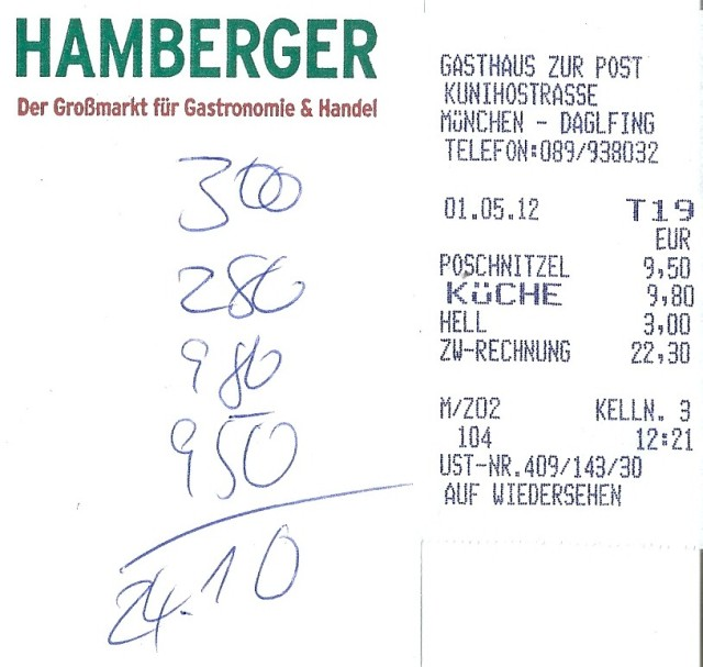 Rechnung Gasthof zur Post
