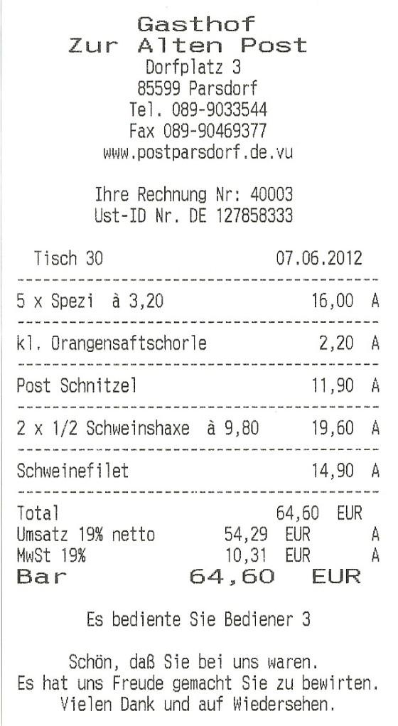 Rechnung Gasthof zur Alten Post in Parsdorf