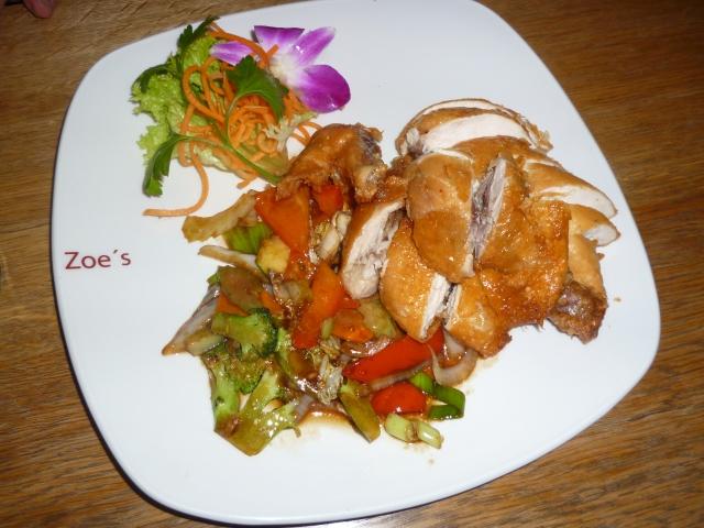 Hähnchen gegrillt mit Wokgemüse und Honigsauce