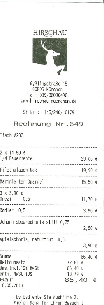 Rechnung Hirschau