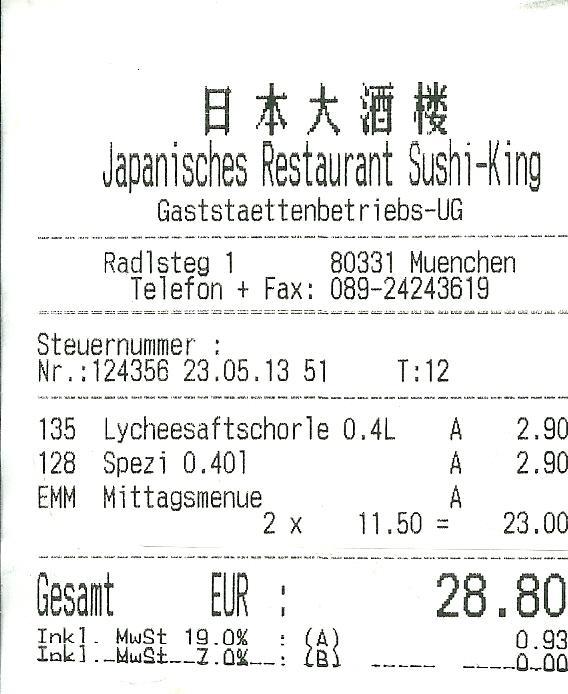 Rechnung Sushi King