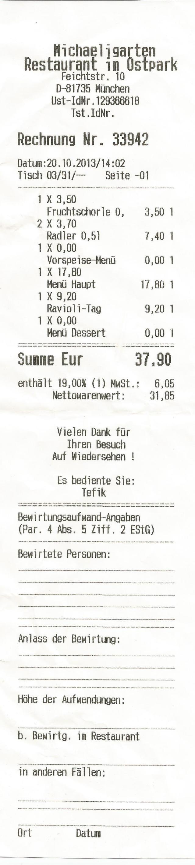 Rechnung Michaeligarten
