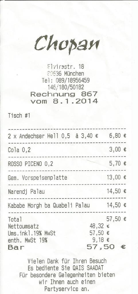 Rechnung Chopan