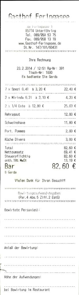Rechnung Gasthof Feringasee