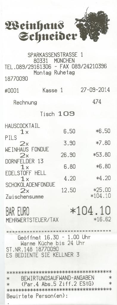 Rechnung Weinhaus Schneider