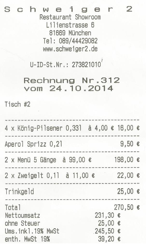 Schweiger² Rechnung
